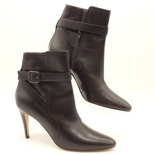 "MANOLO BLAHNIK Black Leather Ankle Boots 3"" Heel"